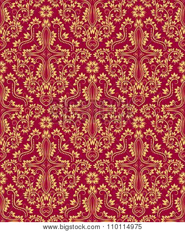 Golden crimson floral damask seamless pattern