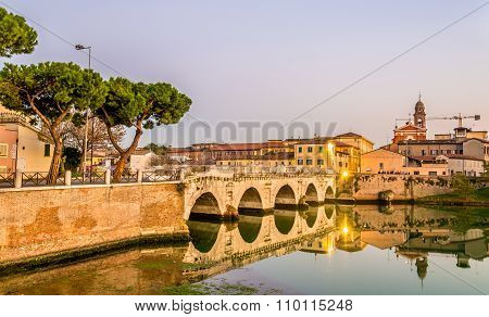 View Of Rimini Above A Lake - Italy