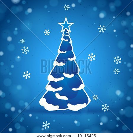 Blue Christmas Tree with a Snowy Sparkling Background