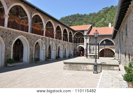 Kykkos Monastery Courtyard With A Well