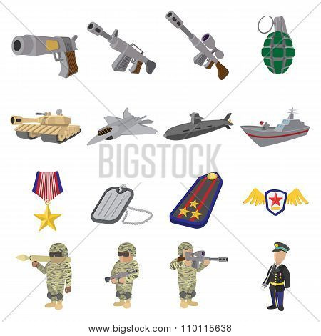 Military and war cartoon icons