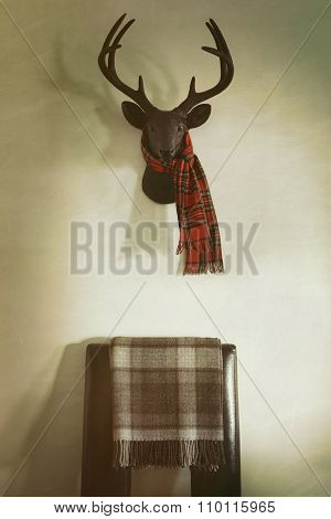 Mounted deer head with red plaid scarf and chair below