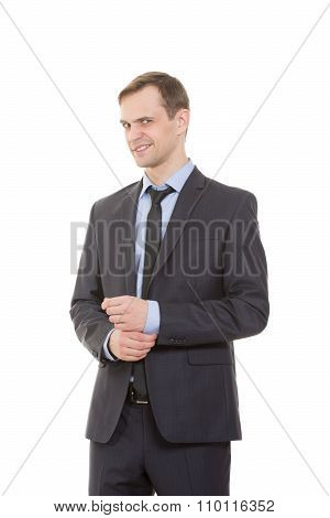 body language. man in business suit isolated white background. gestures of arms and hands. disguised