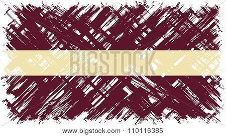 Latvian grunge flag. Vector illustration.