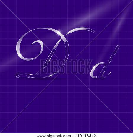 Glassy Italic Letters D