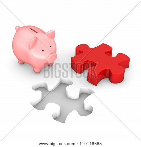 Piggy Bank Red Puzzle