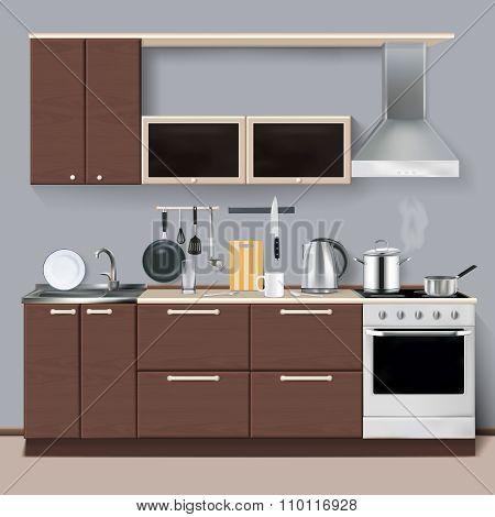 Realistic Kitchen Interior