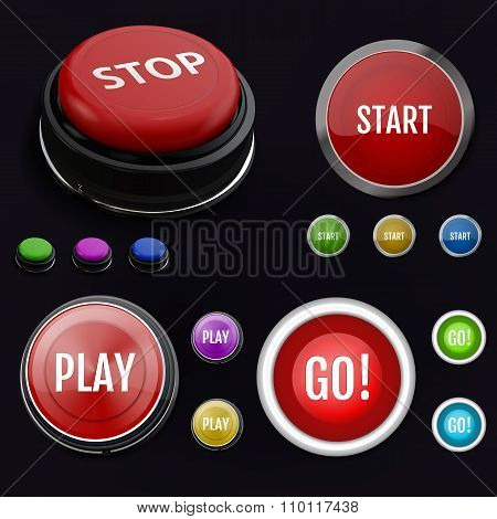 Red realistic button stop. Set colorful button. Can be use for b
