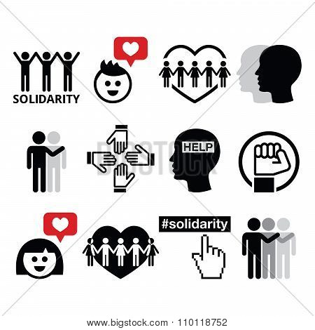 Human Solidarity icons, people helping each other design