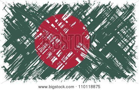 Bangladeshi grunge flag. Vector illustration.