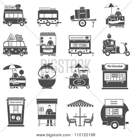 Street Food Black White Icons Set
