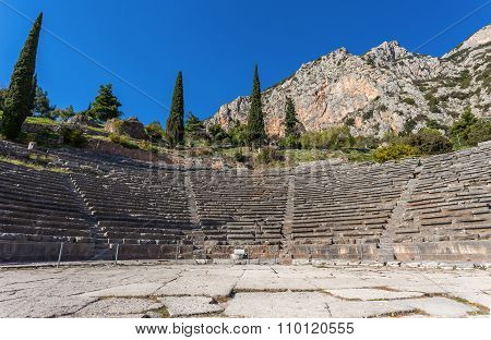 ruins of ancient theater in Delphi