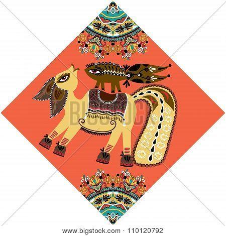 unusual animal, folk illustration in rhombus composition