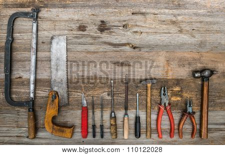 buiding istruments on wooden background