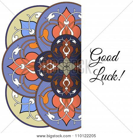 Illustration of  greeting card with round ornate moroccam ornament.
