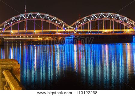 Railway Bridge at night, Riga, Latvia