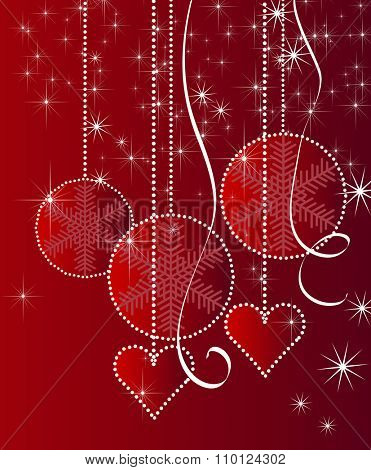 New Year's red background with white balls and snowflakes