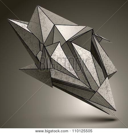Deformed Sharp Zink Object, Contrast Cybernetic Facet Element.