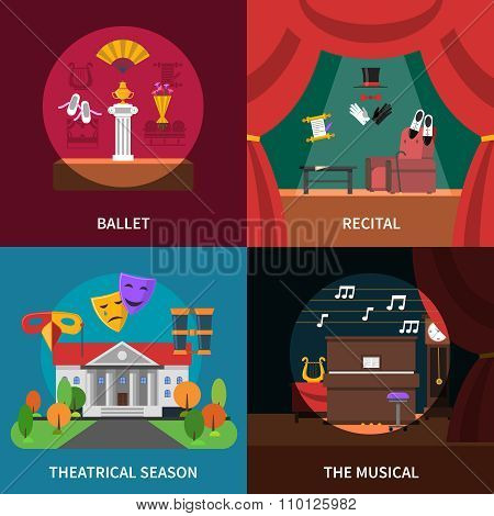 Theatre Concept Icons Set