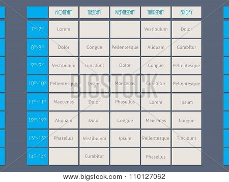 Blue Timetable Template Flat Style