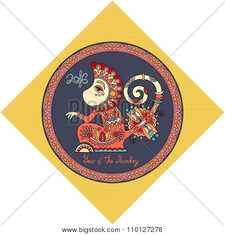 design for new year celebration with decorative ape and inscript