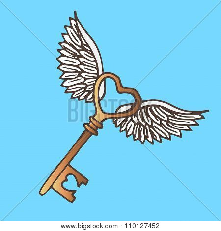 Illustration Of The Key With Wings. Flying Golden Key. Vintage.