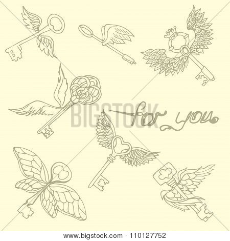 Illustration Of The Key With Wings. Flying Keys. Pattern.