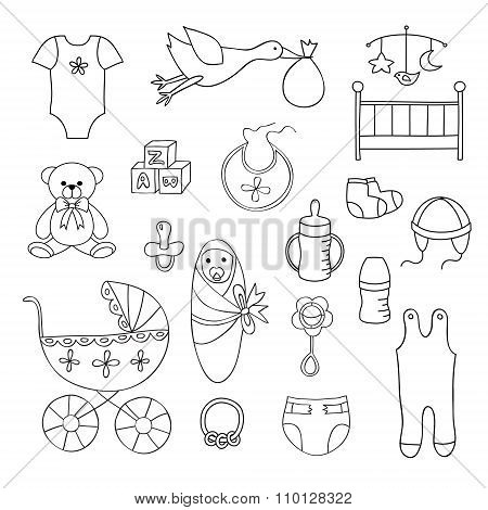 Set of doodle baby elements