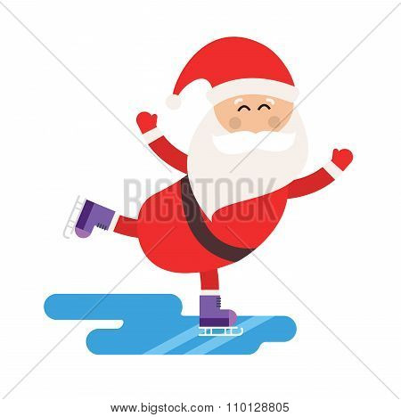 Cartoon Santa ice skates winter sport illustration