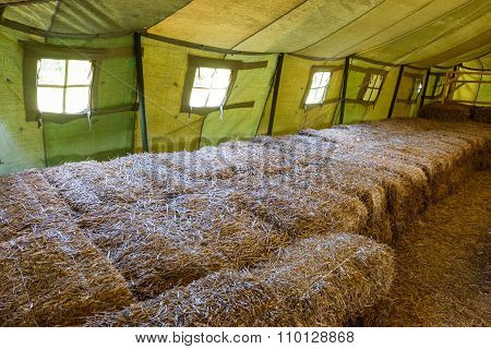 Inside Of Big Military Tent