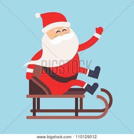 Cartoon Santa Claus driver sled delivery illustration