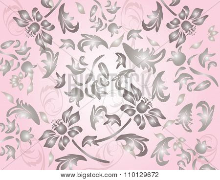 Classic flower ornament in rose background