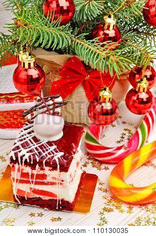 Christmas Cake On Christmas Background
