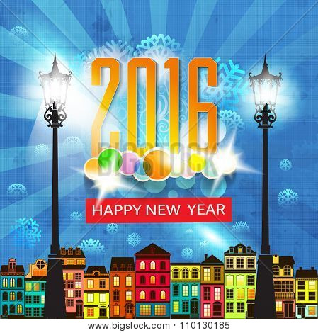 Colorful New Year's Eve card retro cartoon style New Year greetings card illustration.