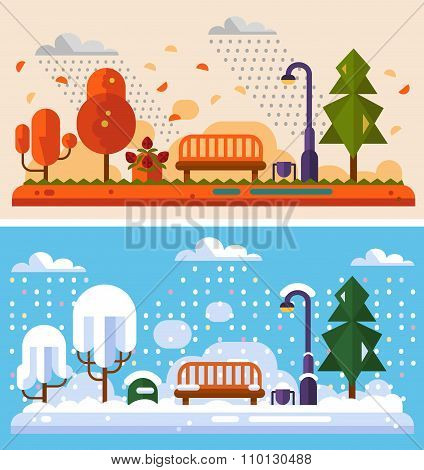Winter and Autumn landscapes
