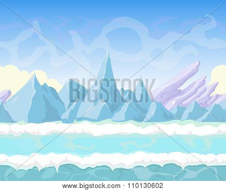 Seamless vector cartoon fantasy landscape with  mountains, snow  and ice for game design