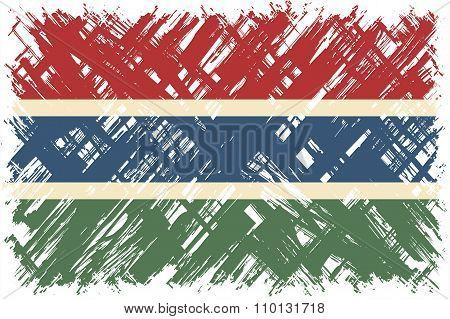 Gambian grunge flag. Vector illustration.