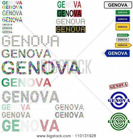 Genova text design set