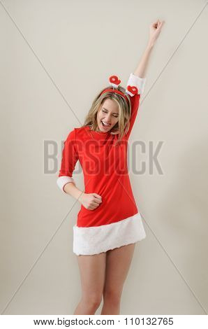 Beautiful Sexy Girl Wearing Santa Claus Clothes Show Succes Gesture