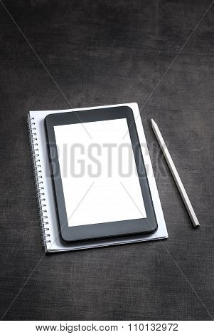 White Blank Screen On The Tablet Pc On Wooden Background