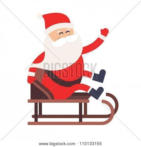 Cartoon Santa Claus driver sled delivery illustration. Santa Claus drive sled isolated. Santa sack vector, Santa cloth, Santa red hat, Santa sledge. Santa Claus vector cartoon active sport