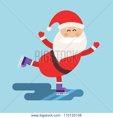 Cartoon Santa ice skates winter sport illustration. Santa Claus winter sport ice skates. Winter sport Santa. Santa healthy, Santa fast, Santa red hat, Santa ice skates. Santa Claus Christmas