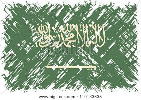 Saudi Arabian grunge flag. Vector illustration.