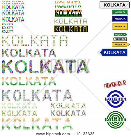 Kolkata text design set