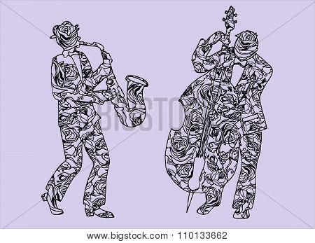 Illustration Of Musicians. Men Who Perform Music. Saxophone. Timpani.
