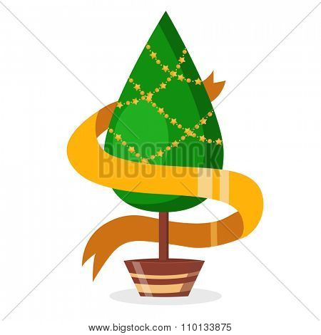 Christmas tree pot flat design vactor icon isolated on white. Christmas tree vector. New Year tree isolated. Christmas tree vector illustration. New Year tree silhouette. Christmas decoration, balls