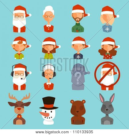 Christmas shop support vector avatars. Shop store gift delivery support cartoon people face avatar.Christmas people support icons. New Year website support icons.Shop store web avatars icons headphone