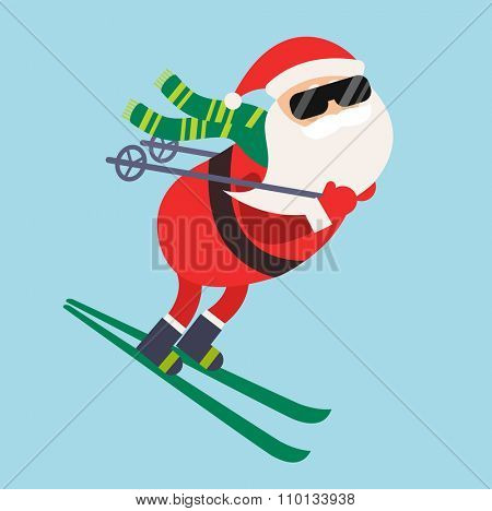Cartoon Santa winter sport illustration. Santa Claus ski run competition illustration. Winter sport games. Santa healthy lifestyle, Santa cloth, Santa red hat, Santa ski. Santa Claus vector sportsman