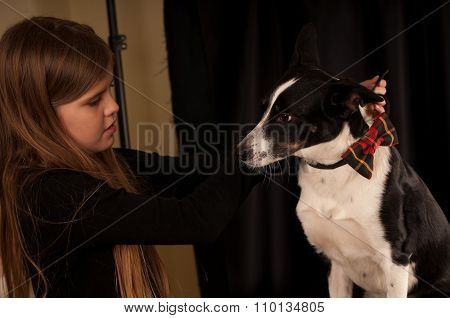 Girl dress dog with bow-tie
