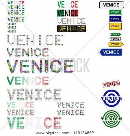 Venice text design set